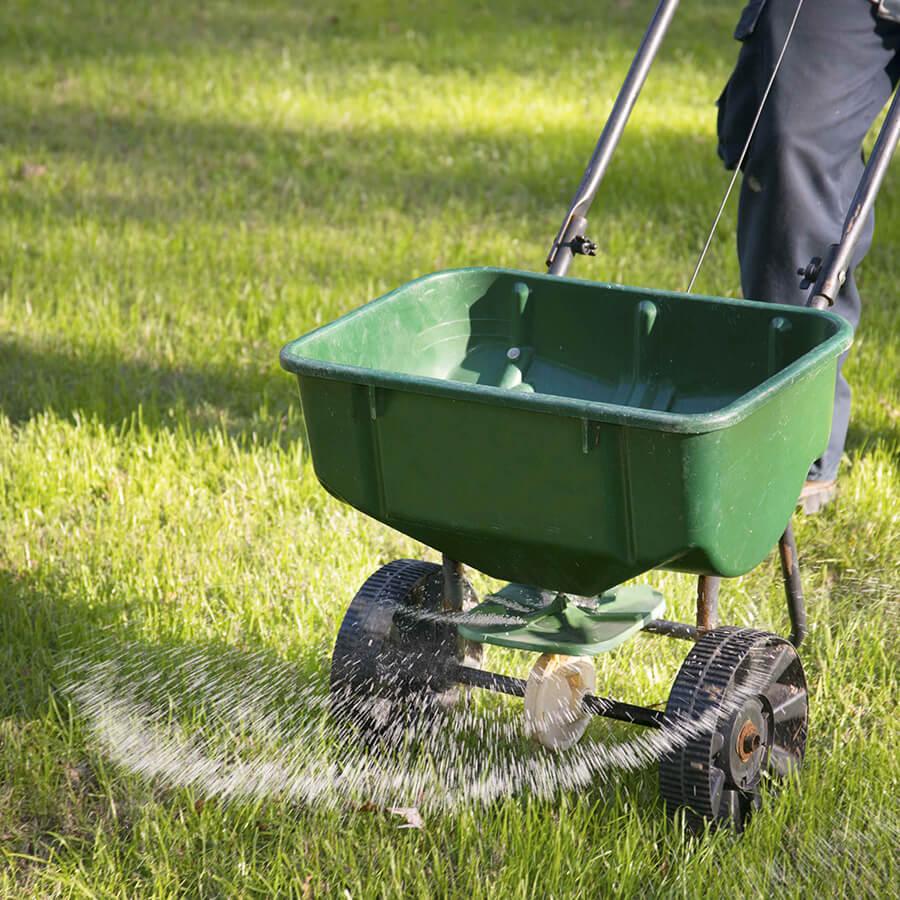 Man Fertilizing Residential Yard